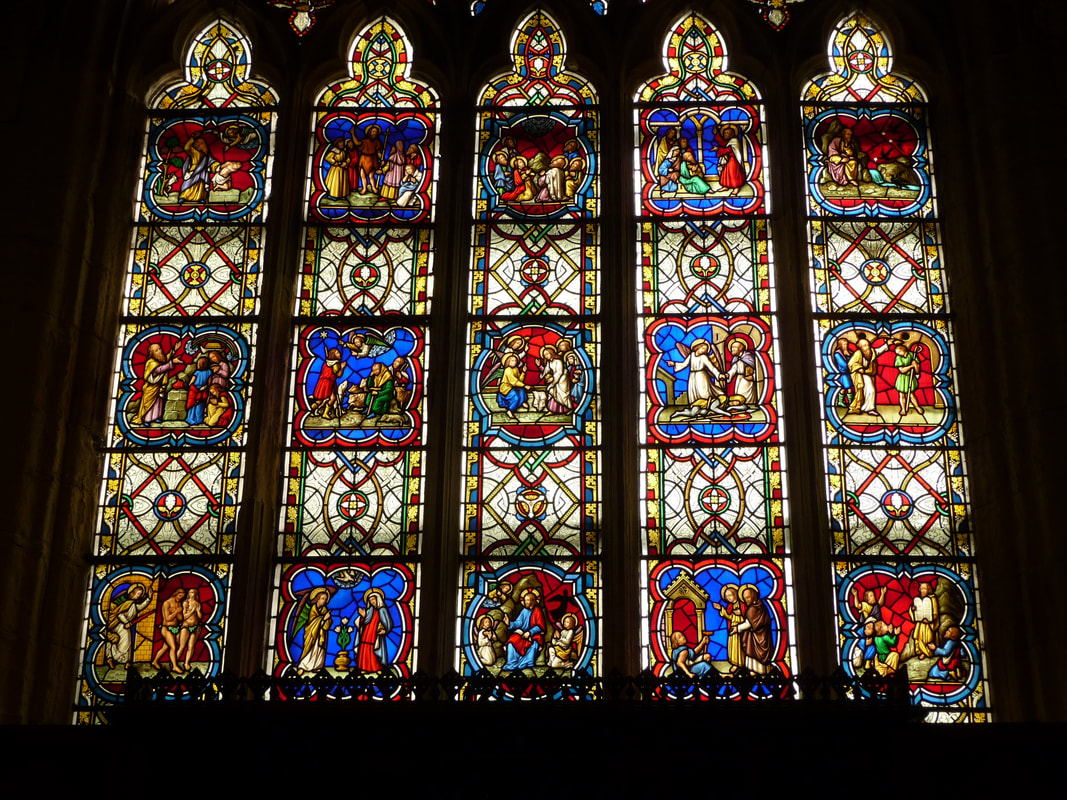 The biblical scenes in the East window