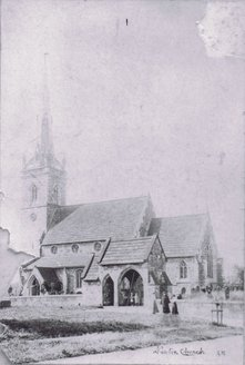 Black and white photo of All Saints church pre-1905.